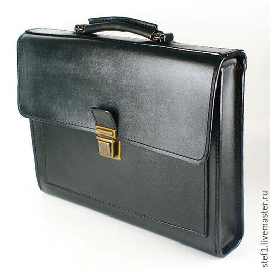 """Мужские сумки ручной работы. Ярмарка Мастеров - ручная работа. Купить Портфель кожаный """"Лайт"""". Handmade. Черный, подарок на новый год"""