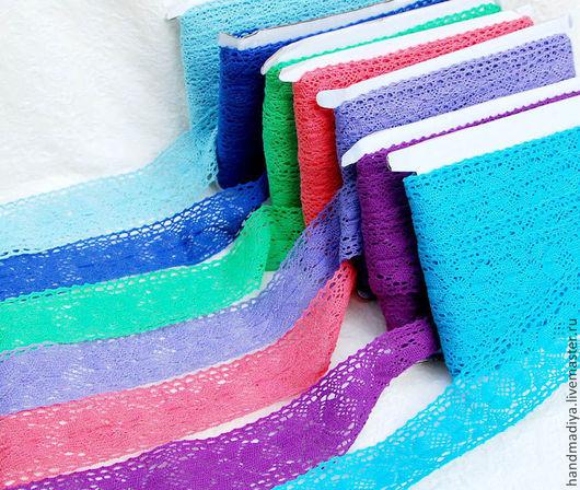 Шитье ручной работы. Ярмарка Мастеров - ручная работа. Купить Цветное льняное кружево -ажурная тесьма 45 мм. Handmade.