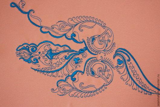 """Аппликации, вставки, отделка ручной работы. Ярмарка Мастеров - ручная работа. Купить Вышивка на заказ """"Винтажная волна"""". Handmade. Золотой"""
