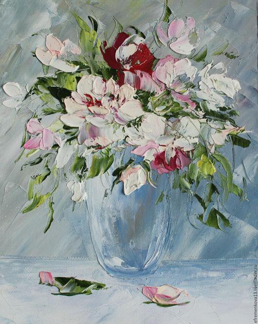 """Картины цветов ручной работы. Ярмарка Мастеров - ручная работа. Купить Картина """"Маленькие розы"""". Handmade. Бледно-розовый, цветы"""