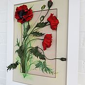 Картины и панно handmade. Livemaster - original item Body picture of leather Poppies in a meadow. Panels of leather. Handmade.