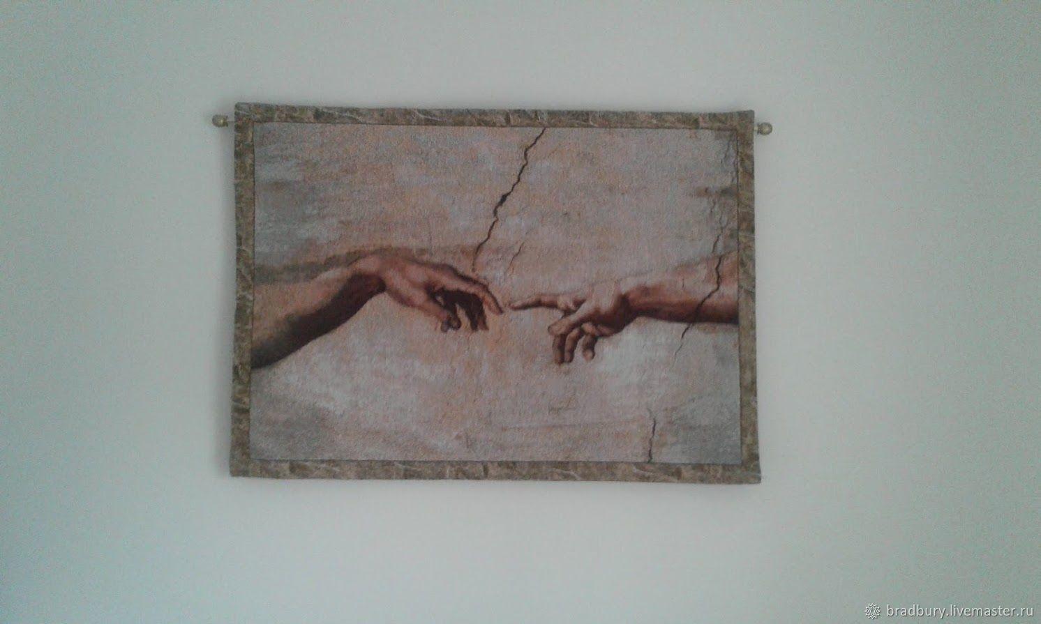 Vintage tapestry Michelangelo ' the Creation of Adam.'America, Vintage interior, Cambridge,  Фото №1