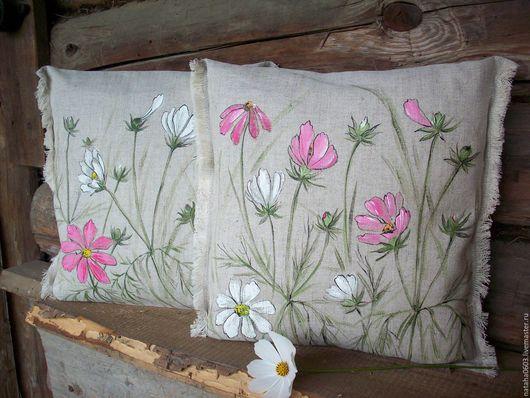 Текстиль, ковры ручной работы. Ярмарка Мастеров - ручная работа. Купить Льняные подушки с росписью...Космея.... Handmade. Розовый