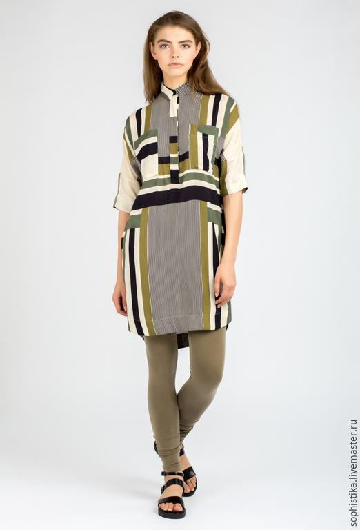 Платья ручной работы. Ярмарка Мастеров - ручная работа. Купить -20%  Платье-рубашка с принтом. Handmade. Оливковый, туника