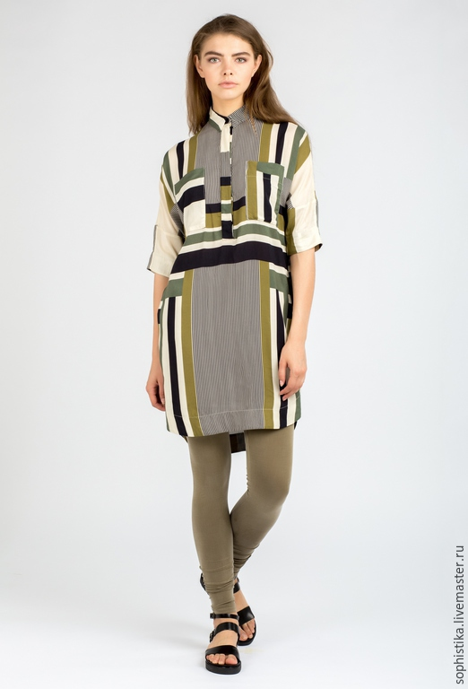 Платья ручной работы. Ярмарка Мастеров - ручная работа. Купить -50%  Платье-рубашка с принтом. Handmade. Оливковый, туника