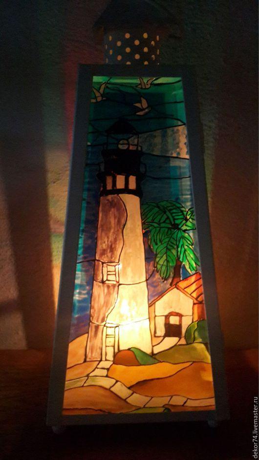Освещение ручной работы. Ярмарка Мастеров - ручная работа. Купить Лампа для свечи. Handmade. Витражная роспись, дизайн интерьера