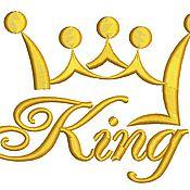 Дизайн и реклама ручной работы. Ярмарка Мастеров - ручная работа надпись Кинг и корона дизайн машинной вышивки. Handmade.