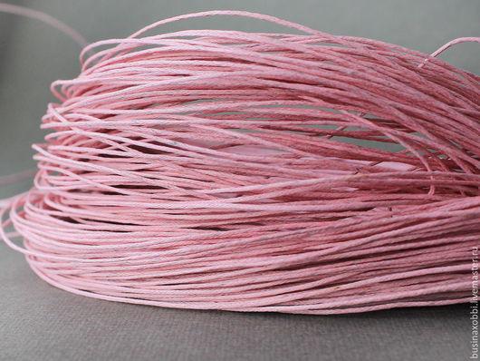 Шнур вощеный хлопок розовый Шнур плетеный из хлопка розового цвета с восковой пропиткой диаметром 1 мм и длиной 10 метров для сборки украшений