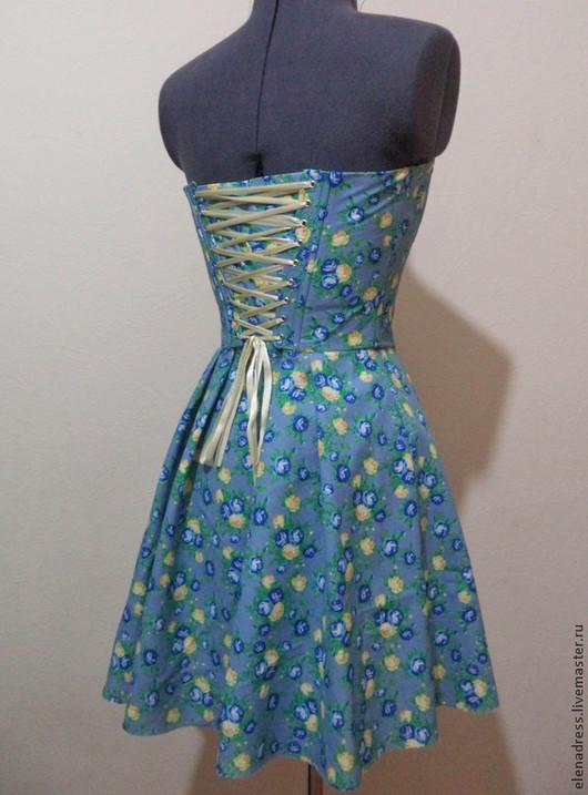 Платья ручной работы. Ярмарка Мастеров - ручная работа. Купить Платье из хлопка на шнуровке. Handmade. Голубой, Платье нарядное, корсаж
