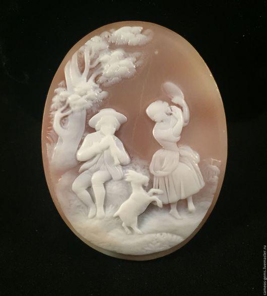 Броши ручной работы. Ярмарка Мастеров - ручная работа. Купить Камея на натуральной раковине. Handmade. Бежевый, винтажная камея