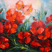 """Картины и панно handmade. Livemaster - original item Oil Painting on canvas """"wild poppy"""" 2. Handmade."""