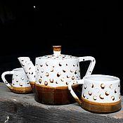 Посуда handmade. Livemaster - original item Set of pottery Teapot and 2 cups. Handmade.