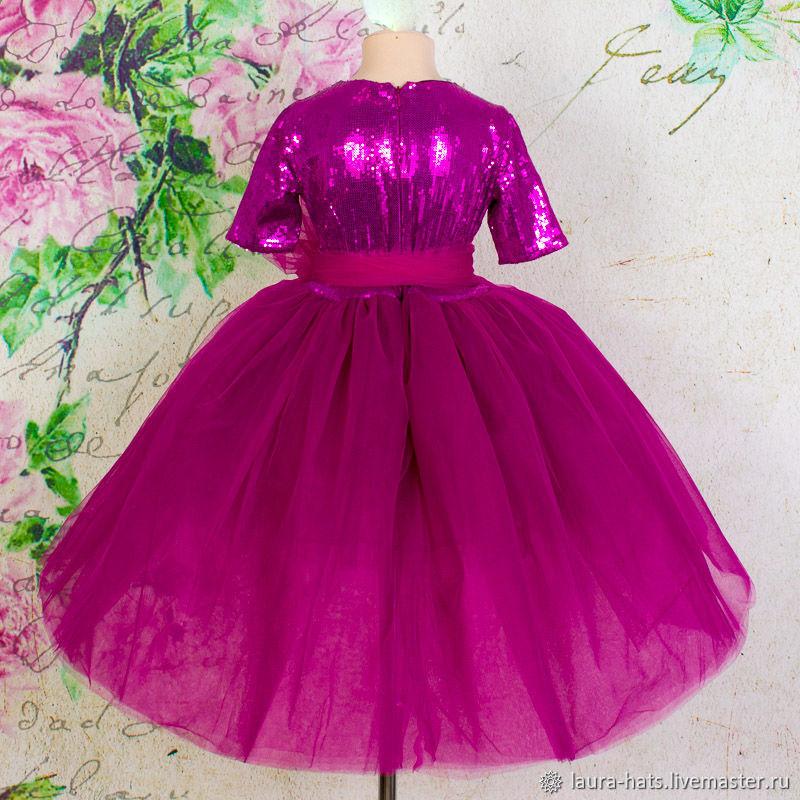 Каскадное, нарядное платье со шлейфом Нарядное платье для девочки