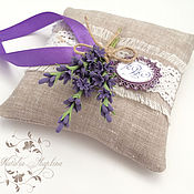 Свадебный салон handmade. Livemaster - original item cushion for rings with lavender monogram. Handmade.