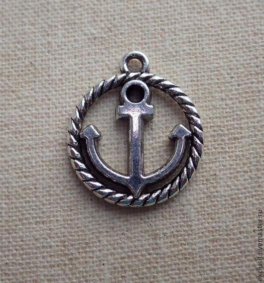 Подвеска якорь. Диаметр подвески 1,5 см, цвет якоря античное серебро. Подвеска якорь двусторонняя