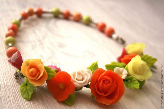 Колье, бусы ручной работы. Ярмарка Мастеров - ручная работа. Купить колье нежные розы. Handmade. Разноцветный, цветы