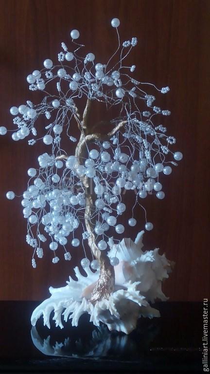 Интерьерные композиции ручной работы. Ярмарка Мастеров - ручная работа. Купить Жемчужное дерево. Handmade. Белый, жемчуг, жемчуг в интерьере