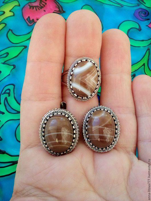 Комплекты украшений ручной работы. Ярмарка Мастеров - ручная работа. Купить 134 Комплект серебрение серьги и кольцо с кварцем, агатом. Handmade.