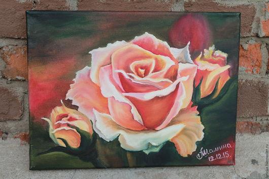 """Картины цветов ручной работы. Ярмарка Мастеров - ручная работа. Купить Картина маслом """"Роза"""". Handmade. Картина в подарок"""
