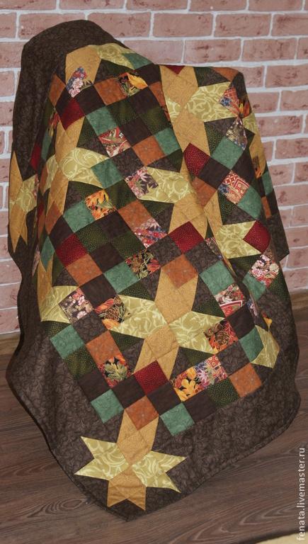Текстиль, ковры ручной работы. Ярмарка Мастеров - ручная работа. Купить Лоскутный плед Золотая осень. Handmade. Коричневый