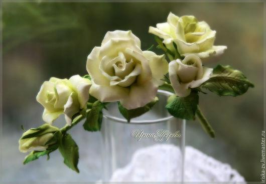 Заколки ручной работы. Ярмарка Мастеров - ручная работа. Купить Веточка розы. Handmade. Оливковый, цветочное украшение
