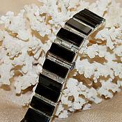 Браслет жесткий ручной работы. Ярмарка Мастеров - ручная работа Браслет на часы с морионами в серебре. Handmade.