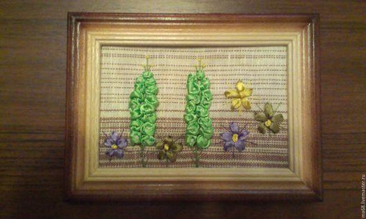 Картины цветов ручной работы. Ярмарка Мастеров - ручная работа. Купить Картина вышитая лентами-колокольчик, недорогой подарок, для интерьера.. Handmade.