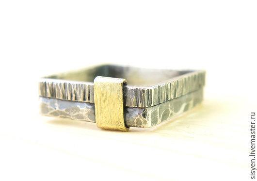 Кольца ручной работы. Ярмарка Мастеров - ручная работа. Купить Кольцо серебряное, квадратное кольцо, вставка латунь. Handmade.