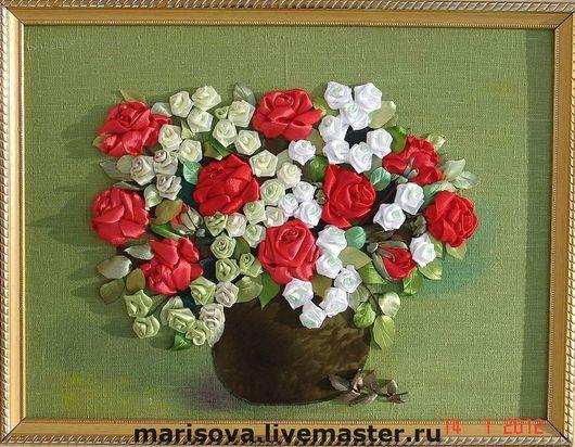 """Персональные подарки ручной работы. Ярмарка Мастеров - ручная работа. Купить Картина лентами """"Королева цветов"""". Handmade. Розы в вазе"""