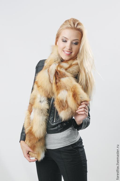 Шарфы и шарфики ручной работы. Ярмарка Мастеров - ручная работа. Купить Меховой шарф из лисы. Handmade. Рыжий, шарф меховой