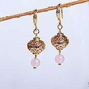 Украшения handmade. Livemaster - original item Gold earrings with openwork beads. Handmade.