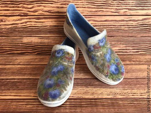 Обувь ручной работы. Ярмарка Мастеров - ручная работа. Купить Мокасины валяные. Handmade. Голубой, туфли валяные, летняя обувь