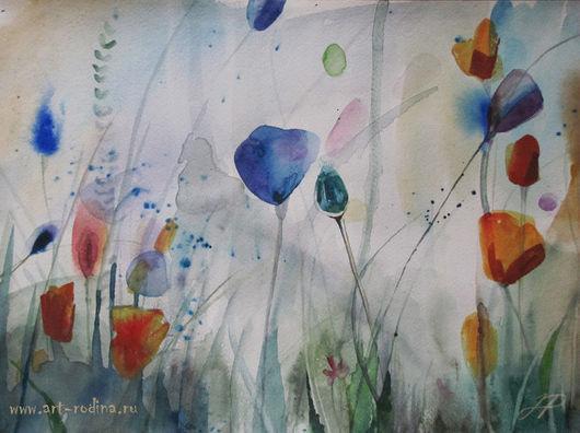 Картины цветов ручной работы. Ярмарка Мастеров - ручная работа. Купить Маки. Handmade. Цветы акварель, маки, синий, опиум