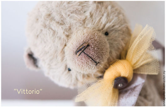 авторский мишка тедди Vittorio мишка  мальчик, мишка тедди в стиле ретро, ,коллекционная игрушка в стиле  бохо от  Анна Палто