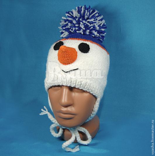 """Шапки и шарфы ручной работы. Ярмарка Мастеров - ручная работа. Купить Шапочка """"Снеговик"""" вязаная, зимняя детская. Handmade. Белый"""