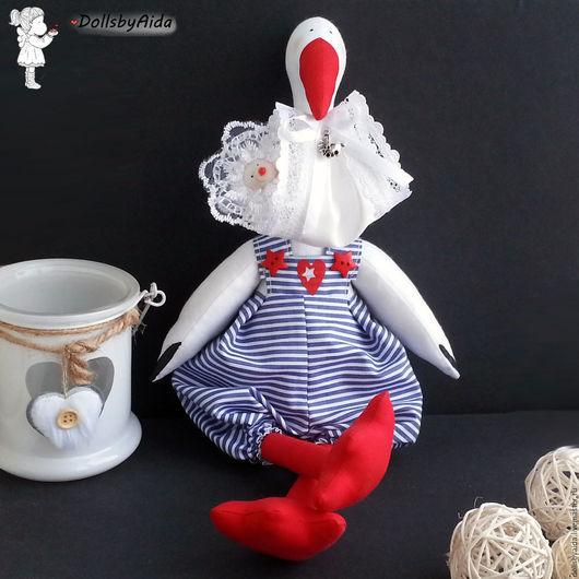 Куклы Тильды ручной работы. Ярмарка Мастеров - ручная работа. Купить Белый аист с малышиком. Handmade. Тёмно-синий, малыш