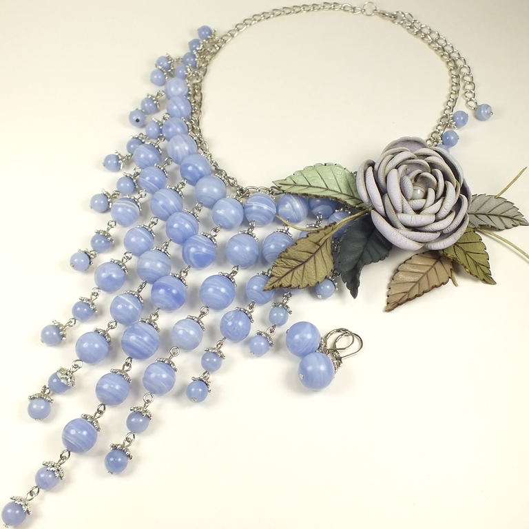 Lavender Valley Of The River. Necklace and earrings, agate brooch and leather, Jewelry Sets, St. Petersburg,  Фото №1