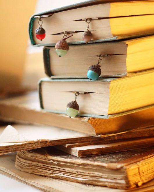 """Закладки для книг ручной работы. Ярмарка Мастеров - ручная работа. Купить Закладки для книг """"желуди"""". Handmade. Книги, яшма, цитаты"""
