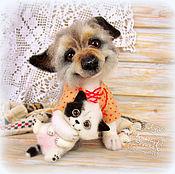 Куклы и игрушки handmade. Livemaster - original item Dog Valetka and kitten Pirate felted. Handmade.
