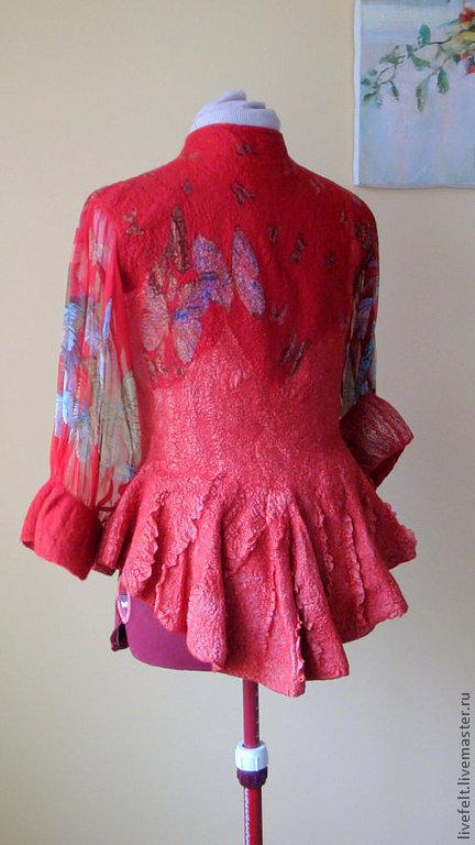 """Пиджаки, жакеты ручной работы. Ярмарка Мастеров - ручная работа. Купить Валяный жакет """" Бабочки """" красный. Handmade."""