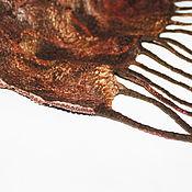 Аксессуары ручной работы. Ярмарка Мастеров - ручная работа Шарф валяный двусторонний Тигровый шелковый шерстяной коричневый. Handmade.