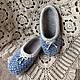 """Обувь ручной работы. Ярмарка Мастеров - ручная работа. Купить Тапочки валяные женские синие """"Милый горошек"""". Handmade. Тапочки"""