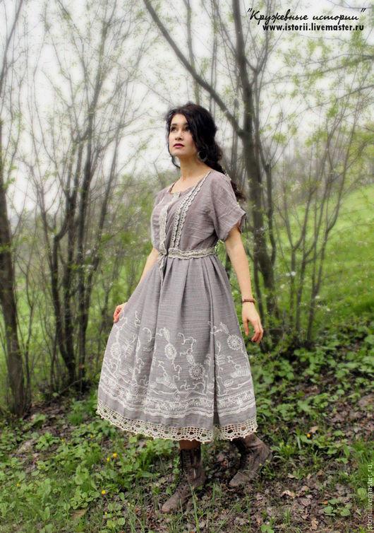 """Платья ручной работы. Ярмарка Мастеров - ручная работа. Купить Бохо-платье """"Туманное утро"""". Handmade. Бежевый, купить бохо"""