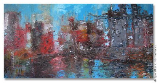 Город ручной работы. Ярмарка Мастеров - ручная работа. Купить Старый мост 120х60 большая картина маслом мастихином городской пейзаж. Handmade.