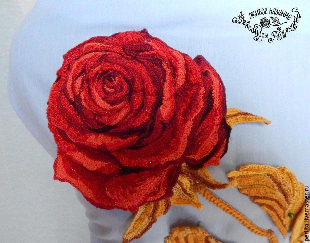большая вязаная роза с крючком схема