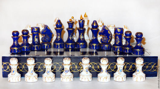 Персональные подарки ручной работы. Ярмарка Мастеров - ручная работа. Купить Шахматы подарочные  деревянные Версаль. Handmade. Тёмно-синий