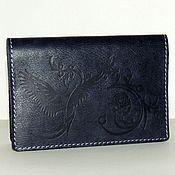 Канцелярские товары handmade. Livemaster - original item Passport cover leather blue.. Handmade.