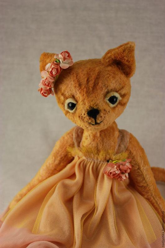Мишки Тедди ручной работы. Ярмарка Мастеров - ручная работа. Купить Тедди Кошка Дуся. Handmade. Оранжевый