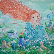 """Картины и панно ручной работы. Ярмарка Мастеров - ручная работа картина  """"Рыжая мечтательница"""". Handmade."""