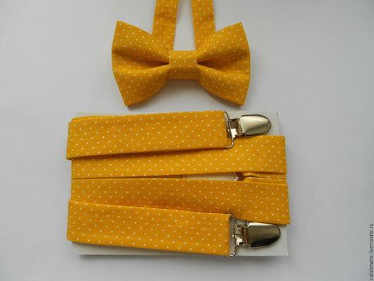 Пояса, ремни ручной работы. Ярмарка Мастеров - ручная работа. Купить Комплект бабочка и подтяжки желтый в горошек. Handmade. Желтый